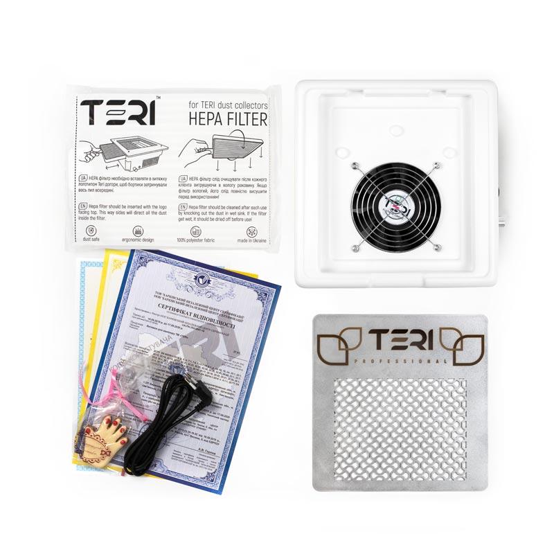 Комплектация настольной маникюрной вытяжки Тери 600 М фильтр, сертификаты