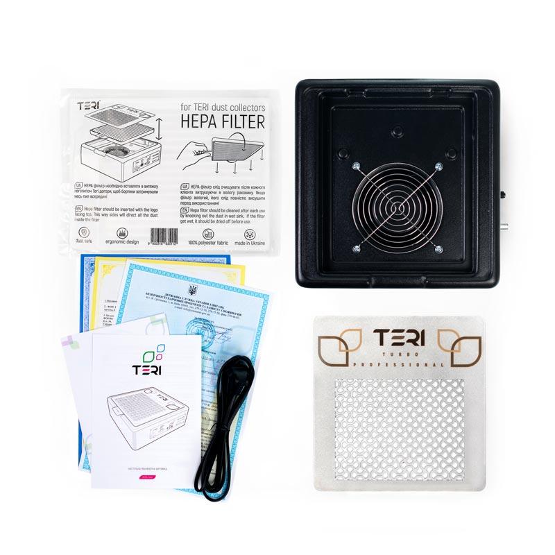 Чорна настільна витяжка Teri Turbo M з НЕРА фільтром, сертифікатами, інструкцією