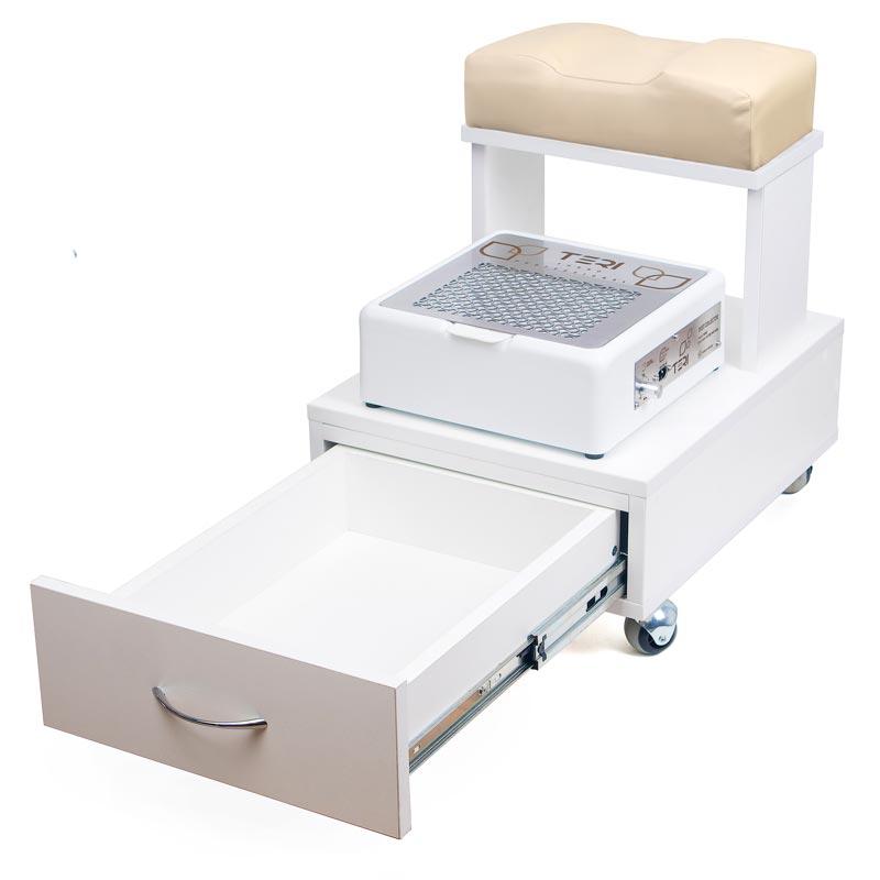 Педикюрна тумба для ніг на колесах з висувним ящиком і настільна витяжка Тері