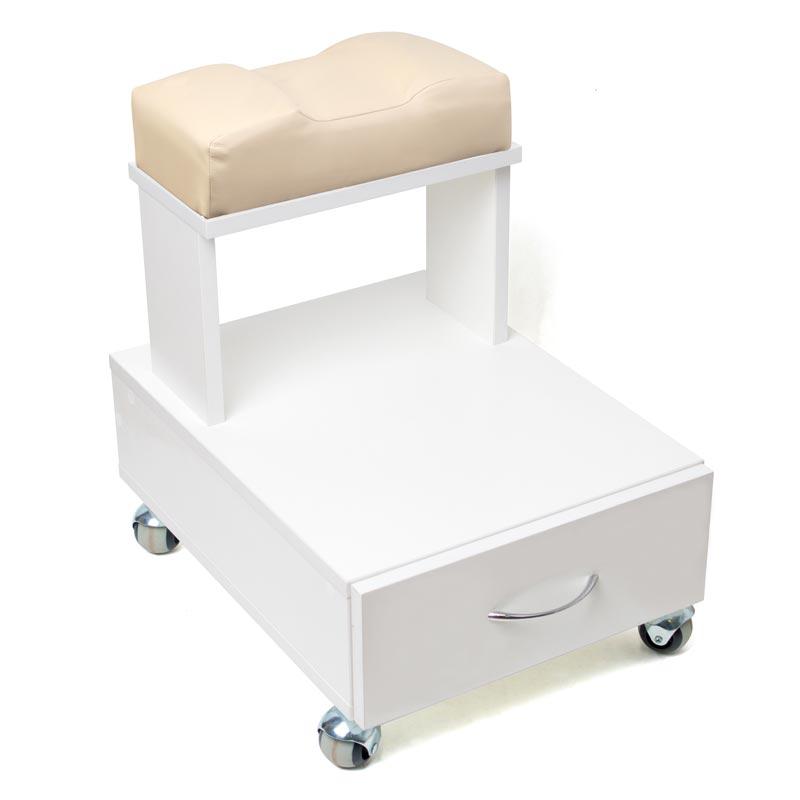 Пересувна педикюрная підставка для ніг з висувним ящиком і м'якою подушкою бежевого кольору