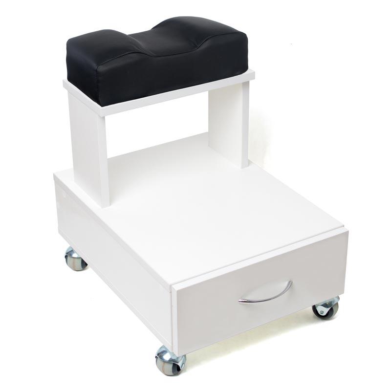 Передвижная педикюрная подставка для ног с выдвижным ящиком и мягкой подушкой чёрного цвета