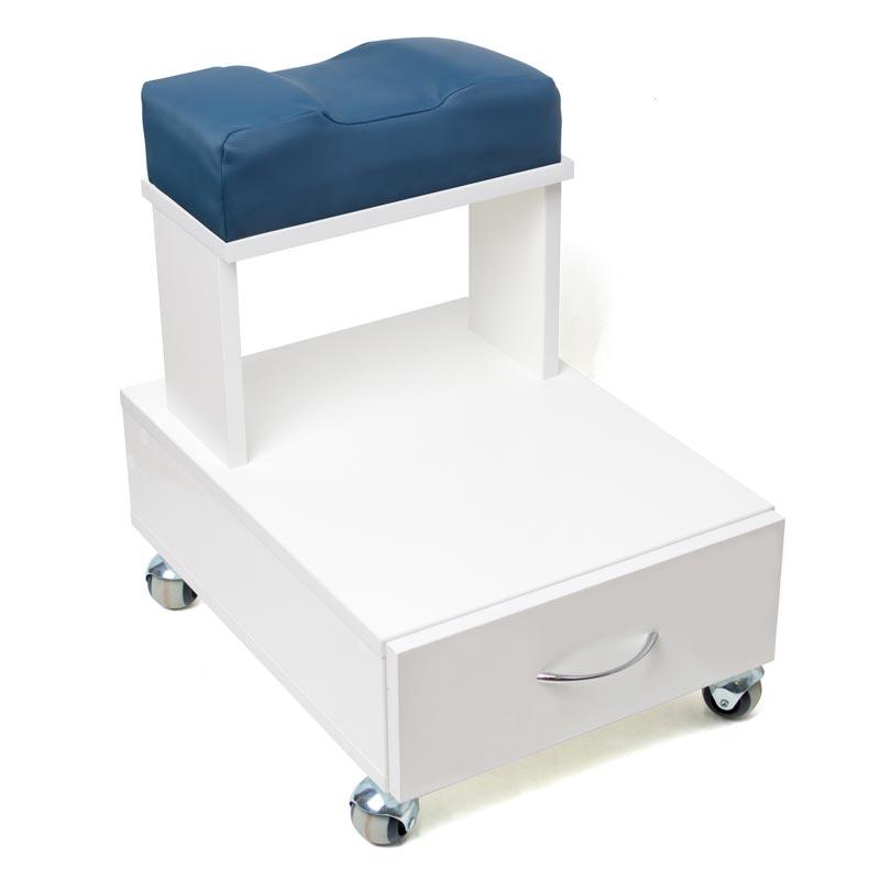 Передвижная педикюрная подставка для ног с выдвижным ящиком и мягкой подушкой синего цвета