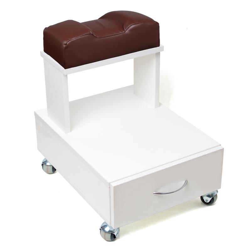 Передвижная педикюрная подставка для ног с выдвижным ящиком и мягкой подушкой коричневого цвета