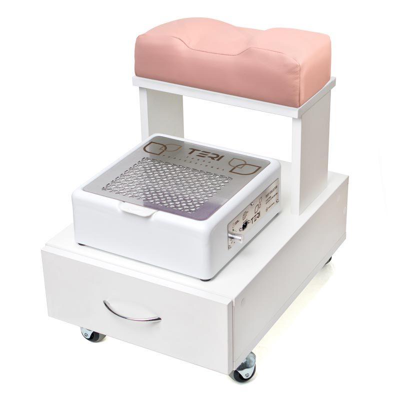 Підставка для ніг на колесах з ящиком для інструментів для настільних витяжок Тері