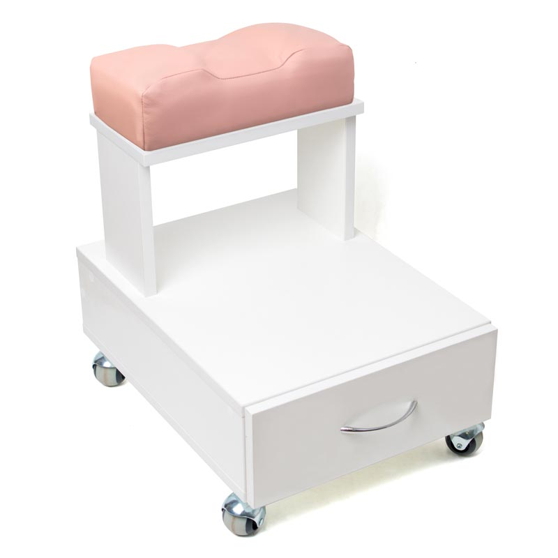 Передвижная педикюрная подставка для ног с выдвижным ящиком и мягкой подушкой кремового цвета
