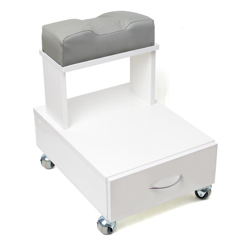 Передвижная педикюрная подставка для ног с выдвижным ящиком и мягкой подушкой серого цвета