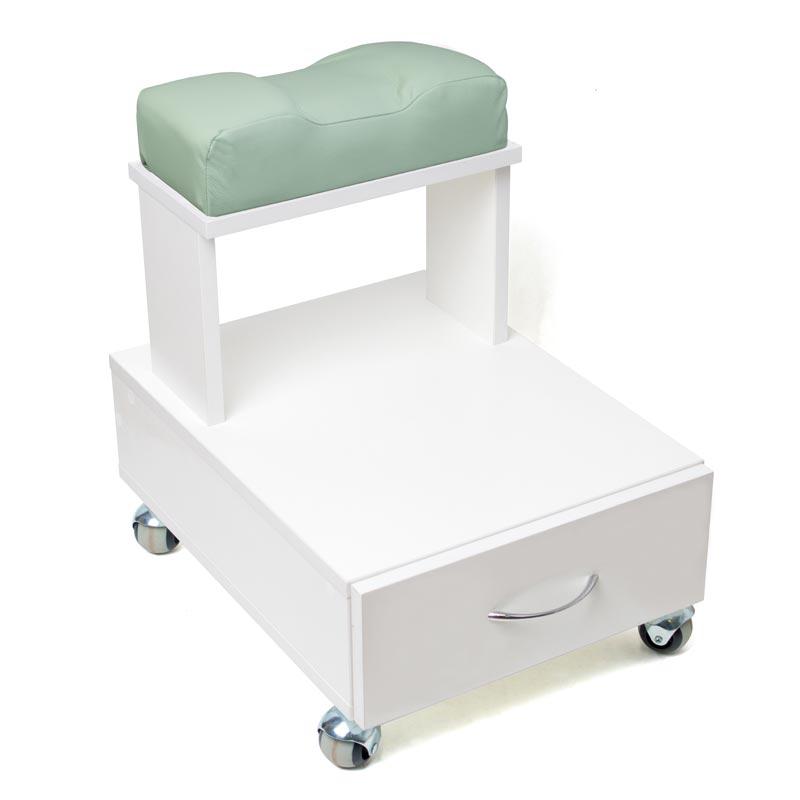 Передвижная педикюрная подставка для ног с выдвижным ящиком и мягкой подушкой ментолового цвета