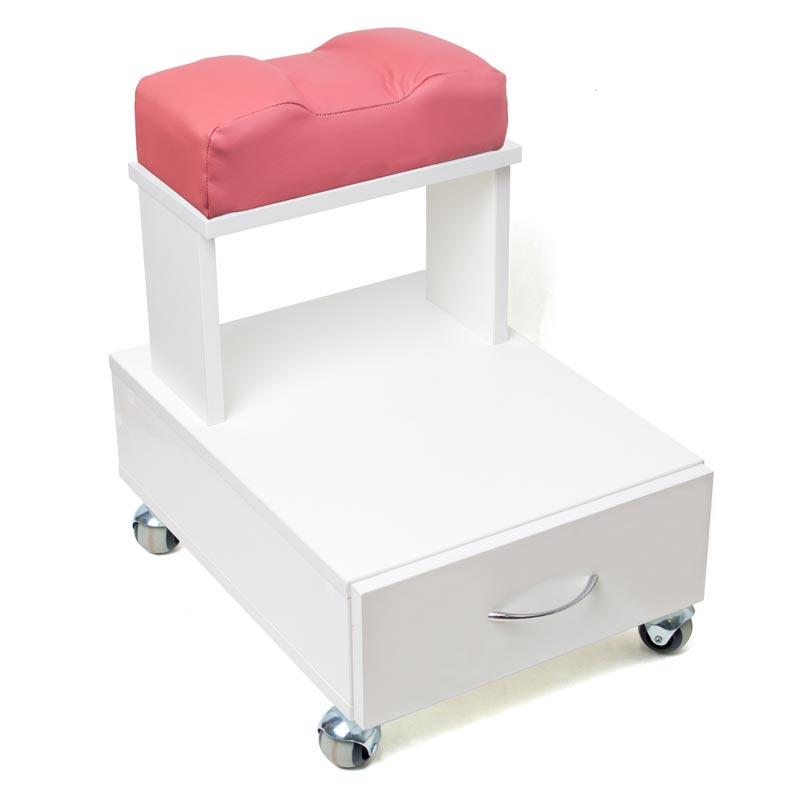 Передвижная педикюрная подставка для ног с выдвижным ящиком и мягкой подушкой розового цвета