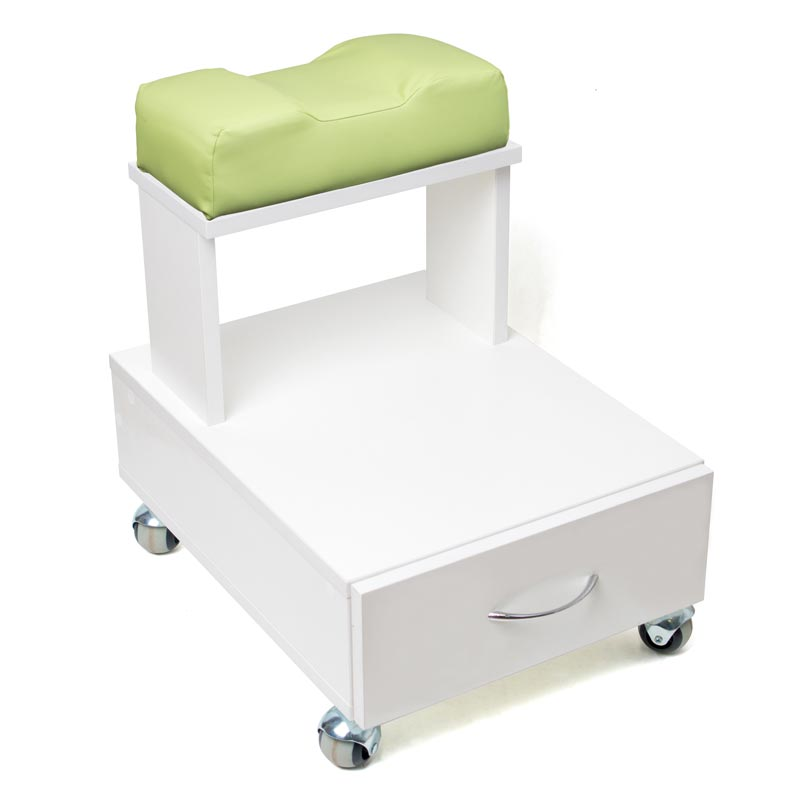 Передвижная педикюрная подставка для ног с выдвижным ящиком и мягкой подушкой фисташкового цвета