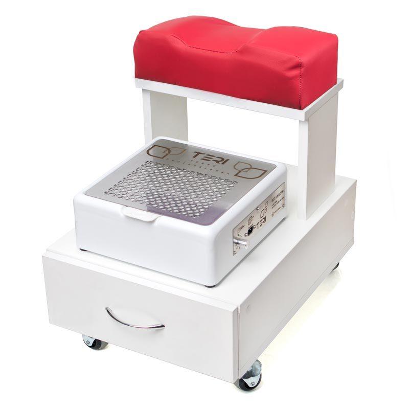 Изображение белой тележки для педикюра с выдвижным ящиком и красной подушкой