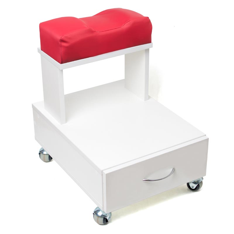 Передвижная педикюрная подставка для ног с выдвижным ящиком и мягкой подушкой красного цвета