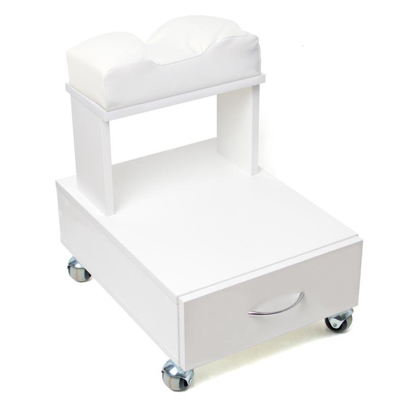 Передвижная педикюрная подставка для ног с выдвижным ящиком и мягкой подушкой белого цвета