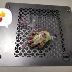 Профессиональная встраиваемая маникюрная вытяжка Teri Turbo с HEPA фильтром (нержавеющая сетка с узором)