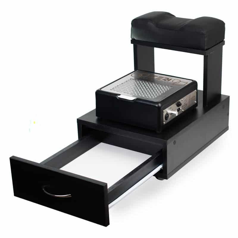 Чёрная тумба тележка для педикюра с подушкой для ног и настольная вытяжка Teri Turbo M черного цвета