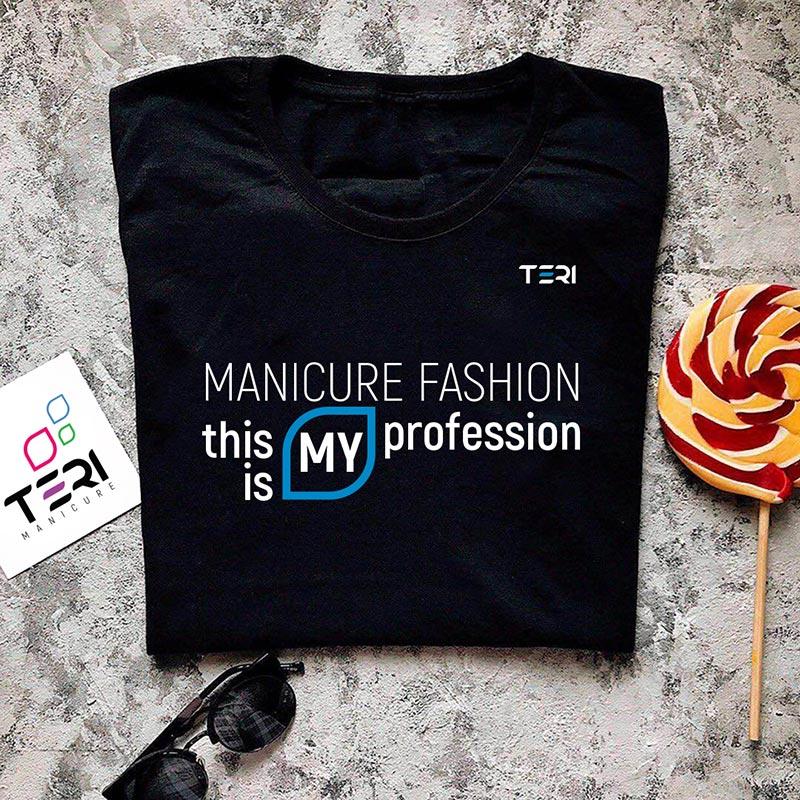 Фирменная чёрная футболка, надпись Manicure fashion this is my profession