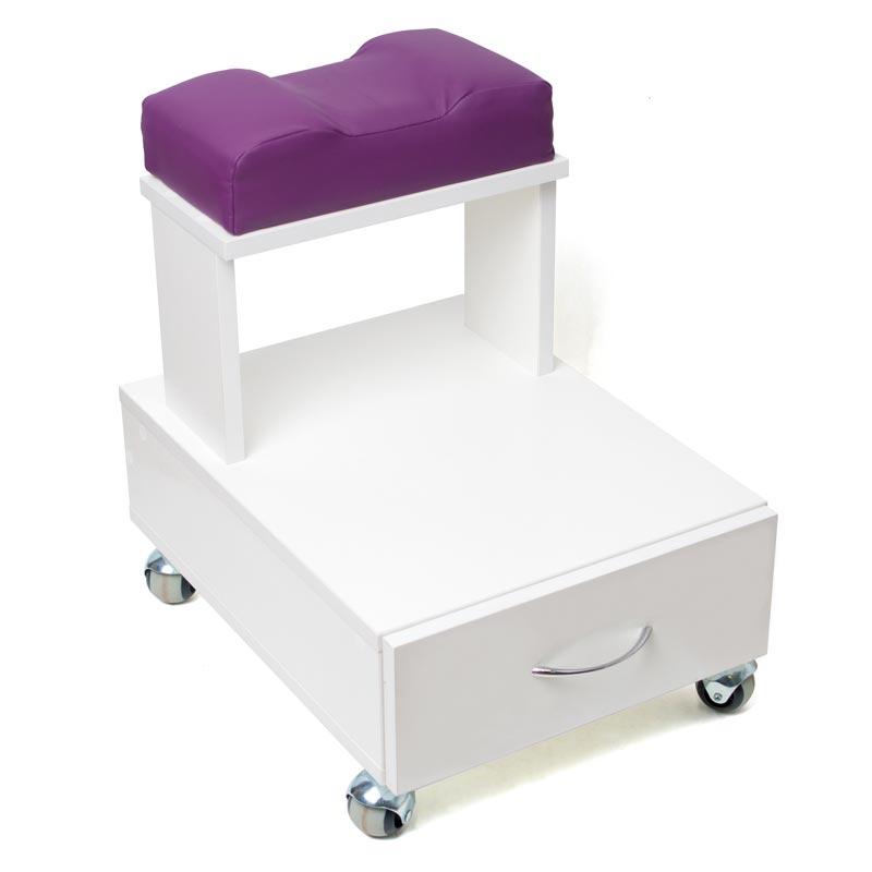 Передвижная педикюрная подставка для ног с выдвижным ящиком и мягкой подушкой пурпурного цвета